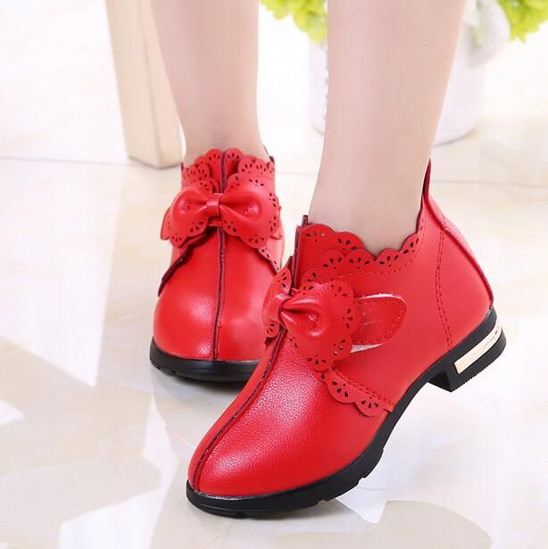 2016 Newest Autumn Baby Girls Leather Shoes Casual Non-slip Children Outdoor Shoes Kids Student  Bowknot Princess Shoes