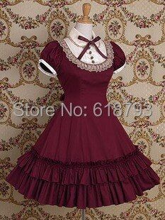 free shipping Beautiful Gothic Lolita dress Short-sleeve shirtdress for women Cosplay costumes Retro dresses