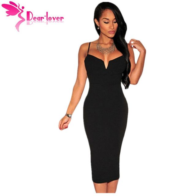 Dear Lover roupas femininas Black Plunging V Neck Sling Midi Bodycon Bandage Party Night Club Dress vestidos para festa LC60017