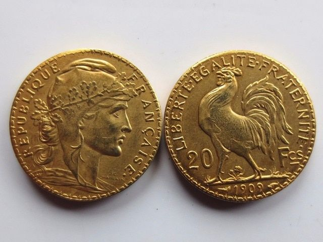 France 20 Francs 1909 Rooster 24K Gold Copy Coin Free Shipping