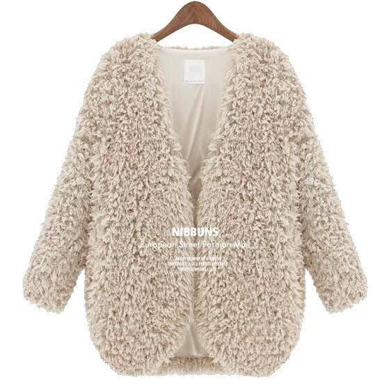European Fall Style Crochet Faux Fur Coat Women New 2016 Autumn Winter Fashion Ladies' Elegant Loop Yarns Fleece Outerwears