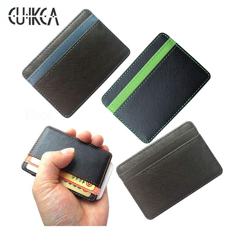 CUIKCA Korea fashion High quality PU leather mini men wallet magic wallets Fashion men credit card holder card wallet