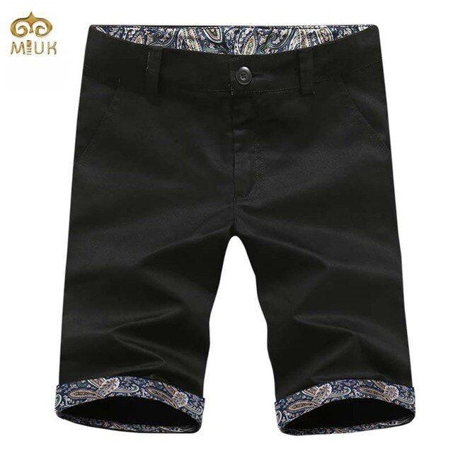 MIUK Super Large Size National Style Shorts Men 40 38 Cotton Print 6Color Black Shorts Brand Clothing Shorts Homme 2017 New
