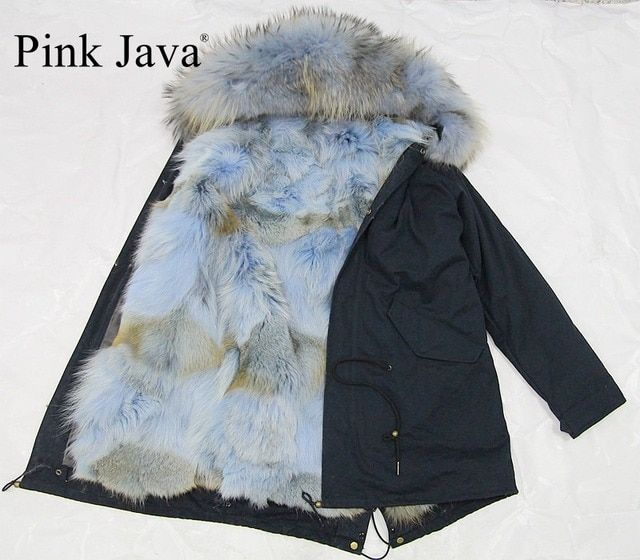 pink java 2016 new arrival real fur lined short parka with raccoon collar parka  real fox fur lining  winter thick fur coat