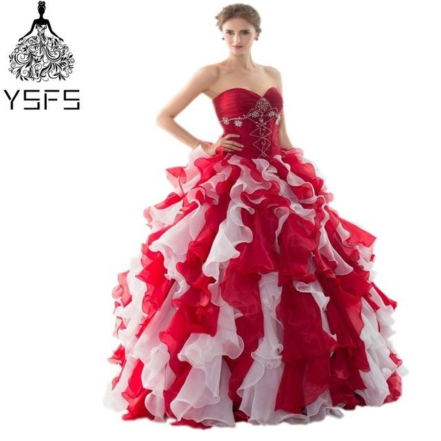 In Stock Cheap Long Ball Gown Organze Quinceanera Dresses Sweetheart With Ruffles Party Prom Gown Lace Up Back 40285