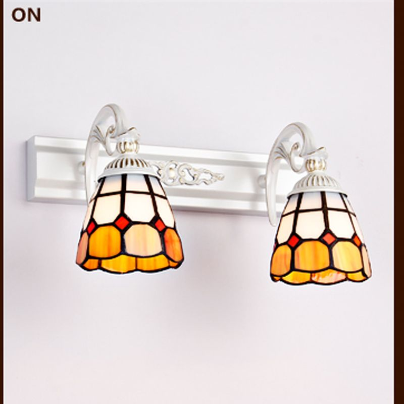 Tiffany Vintage Bathroom Mirror Led Wall Lamp Loft Wall Light E27 Bulb Wall Sconces European Baroque For Bedroom Fixtures WL206