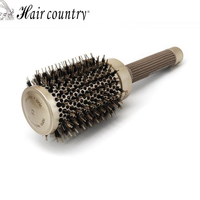 Hair Country 53mm  Round Comb For Hair Ceramic Iron Brush Barber Dressing Hair Styling Care Tool Barrel Bristle Plastic Combs