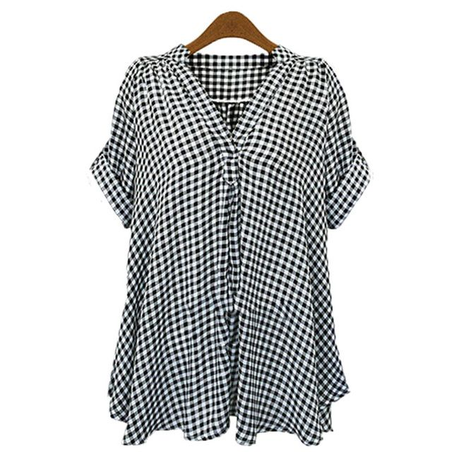 2017 Zanzea Summer New Fashion Women Blusas Plaid Check 3/4 Sleeve Casual V-neck Tops Blouse Loose Shirt Blusas Plus Size
