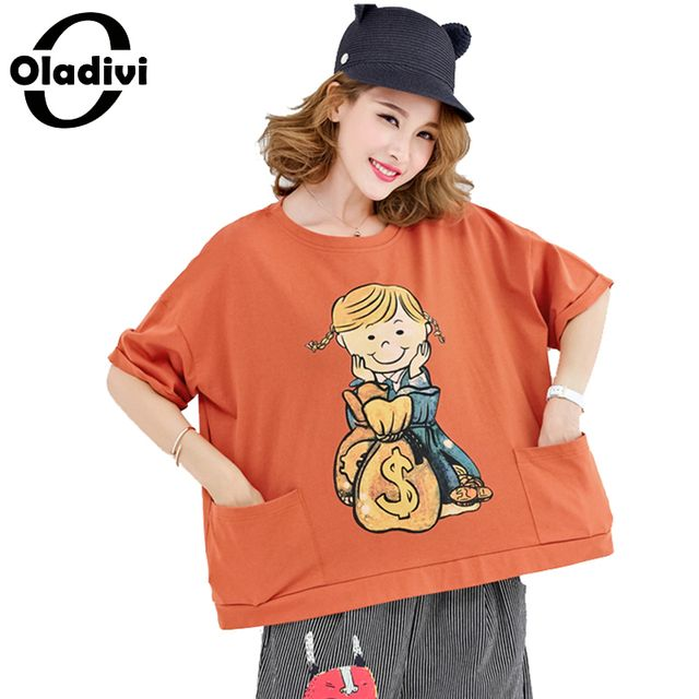 Oladivi Plus Size Women Clothing Summer Casual T-Shirt Cartoon Print Cotton Tops Tees Female Fashion Short Design Shirts Tunics
