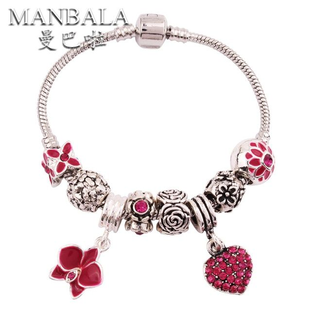 MANBALA  Luxury Elegant Styles Alloy Beads Charm Bracelet Women Cuff Bracelets Bangles Flower and Heart Pendants Jewelry T01AE
