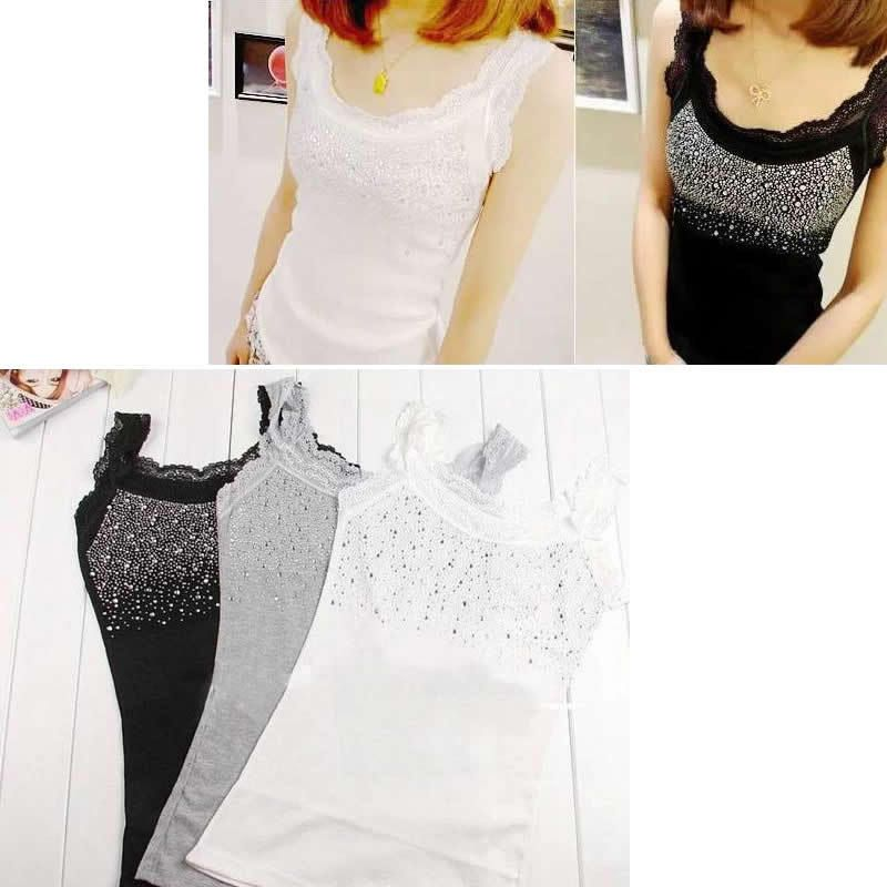 Trendy Lace Vest Girl Women's Rhinestone Sequin Lace Tank Top Sling Camisole Cami Vest Slim 3 colors