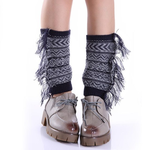 Mori Girl Vintage Fringe Tassel stripe Boho Bohemian Women Winter Warm Soft Wool Knitted Twist Leg Warmers Christmas Boot Socks