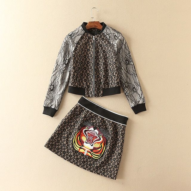 New 2016 brand fashion women girl black lace baseball jacket + cute animal tiger embroidery a-line mini skirt two piece set suit