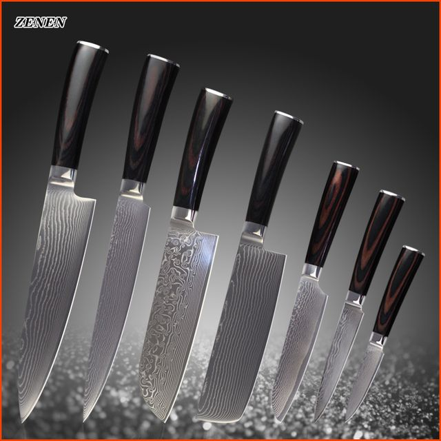 XYJ brand damascus knives high quality chef slicing chopper santoku utility paring cooking knife damascus steel kitchen knives