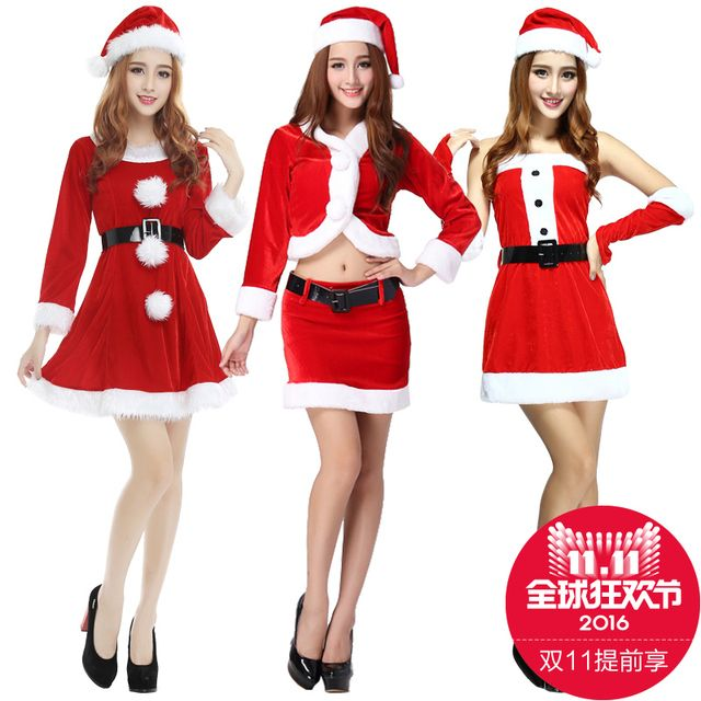 2016 Christmas dress women red sexy Santa Clothes clothes Christmas dresses female adult female photo uniforms COS
