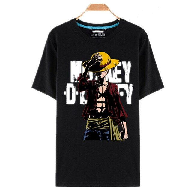 One Piece T Shirt Luffy Straw Hat Japanese Anime T Shirts O-neck Black T-shirt For Men Anime Design One Piece T-shirt camisetas