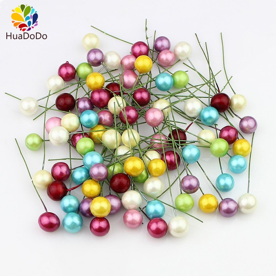 1cm 50pcs Plastic Pearl Stamens Artificial Flower small berries cherry for Wedding Christmas cake box wreaths Decoration