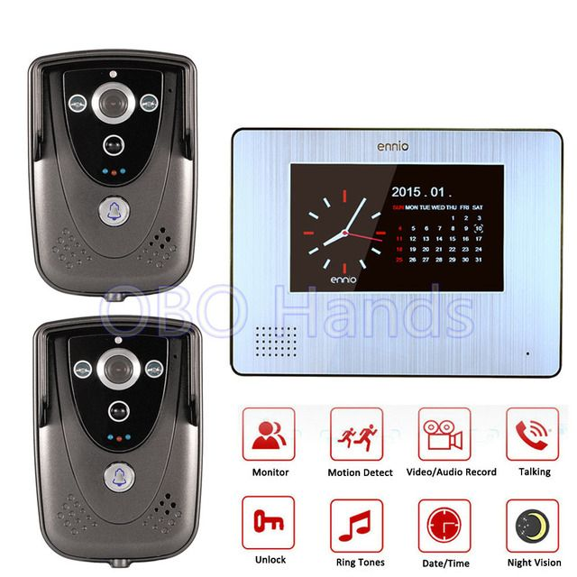 Wired 7 inch Touch Screen Video Door Phone 1 Indoor Monitors Video Doorbell+2 IR Night Vision Cameras Can Show Time and Date