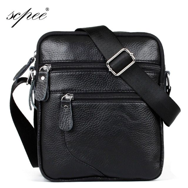 Guaranteed Leather Men's Messenger Bag Casual Business Small Shoulder Bag Men's Handbag Free Shipping