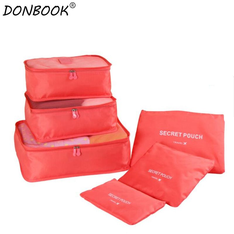 Donbook 6 PCS Travel Storage Bag Set For Clothes Tidy Organizer Pouch Suitcase Home Closet Divider Container Organizer