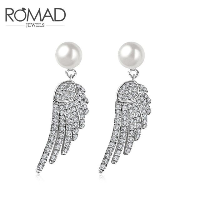 2017 Romad Charms Freedom Wings Cute Stud Earrings Sliver Color Wedding Punk Pendant Fashion Jewellery Romantic Mother's Gift