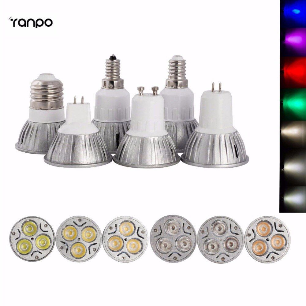 6PCS/Lots High Power E12 E27 E14 GU10 MR16 GU5.3 3W LED Spot Light Lamp DC12V AC85-265V LED Spotlight Bulb Lamp 7Colors