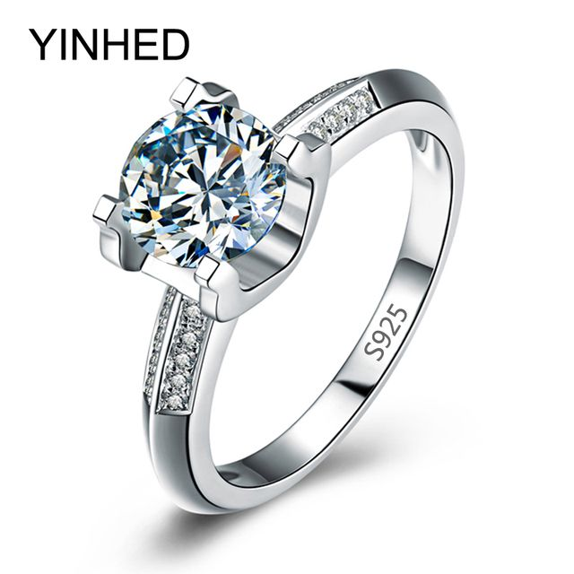 97% OFF !! YINHED Real Solid 925 Silver Wedding Rings for Women Simulated CZ Diamant Engagement Ring Fashion Jewelry ZR170
