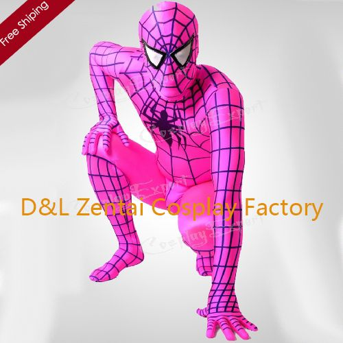 Free Shipping DHL Cheap Pink Full Body Lycra Spandex Spiderman Zentai Suit Super Hero Costume UDC1182 Dropship
