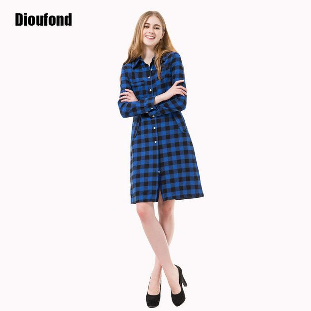 Dioufond Autumn Women Dress Long Plaid Casual Dress Long Sleeve Dresses Office Dresses Vestidos Robe Longue Femme Plus Size 2016