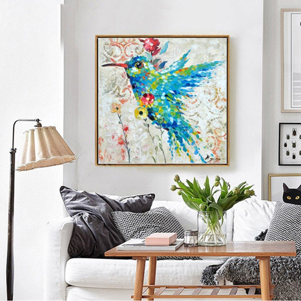 Top Selling Humming Bird Hand Painted Oil Painting On Canvas Colourful Animal Modern Handmade Poster For Wall Art Decor Bedroom