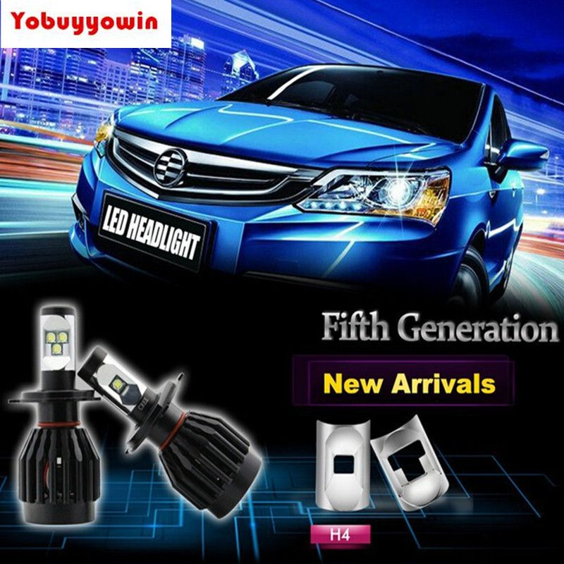2Pcs All In One Led H4 9003 P43t HB2 Dual Beam Headlight Bulb 80W 8000lms Conversion Kit Car Motorcycle Led Lights
