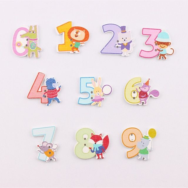 2 Holes Randomly  Mixed Wooden Button Cute Numbers  pattern Scrapbook Craft Buttons Mix 50pcs Garment Botoes Accessories 27*30mm