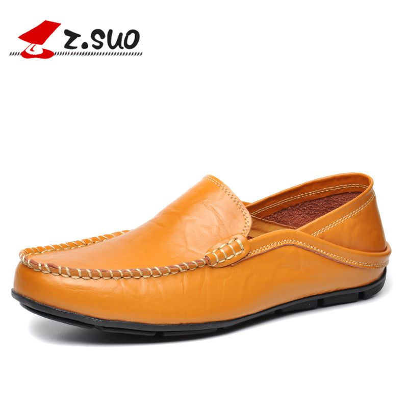 Leather Men Loafers Shoes Comfortable Casual Shoes Men Spring Autumn Black Soft Sole Driving Flat Shoes Blue Big Size:38-47