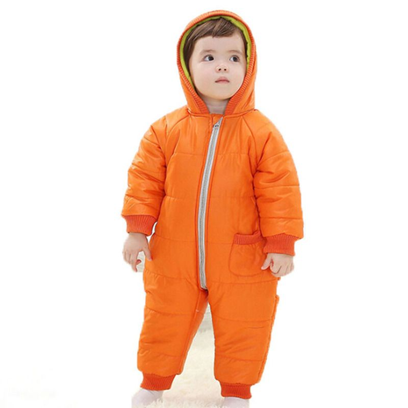Winter Baby Boys Rompers Autumn Girls Hooded Full Clothing Thicken Cotton Padded Kids Warm Overalls Newborn Infant Jumpsuits