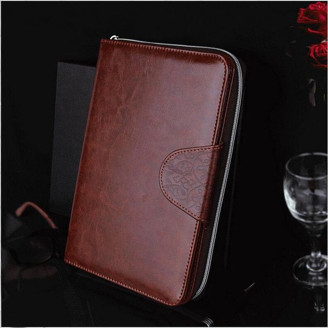 PU Leather A5 Folder Padfolio Multifunction Filler Paper Planner Notebook Business Botton Zipper Padfolio Office Supplies