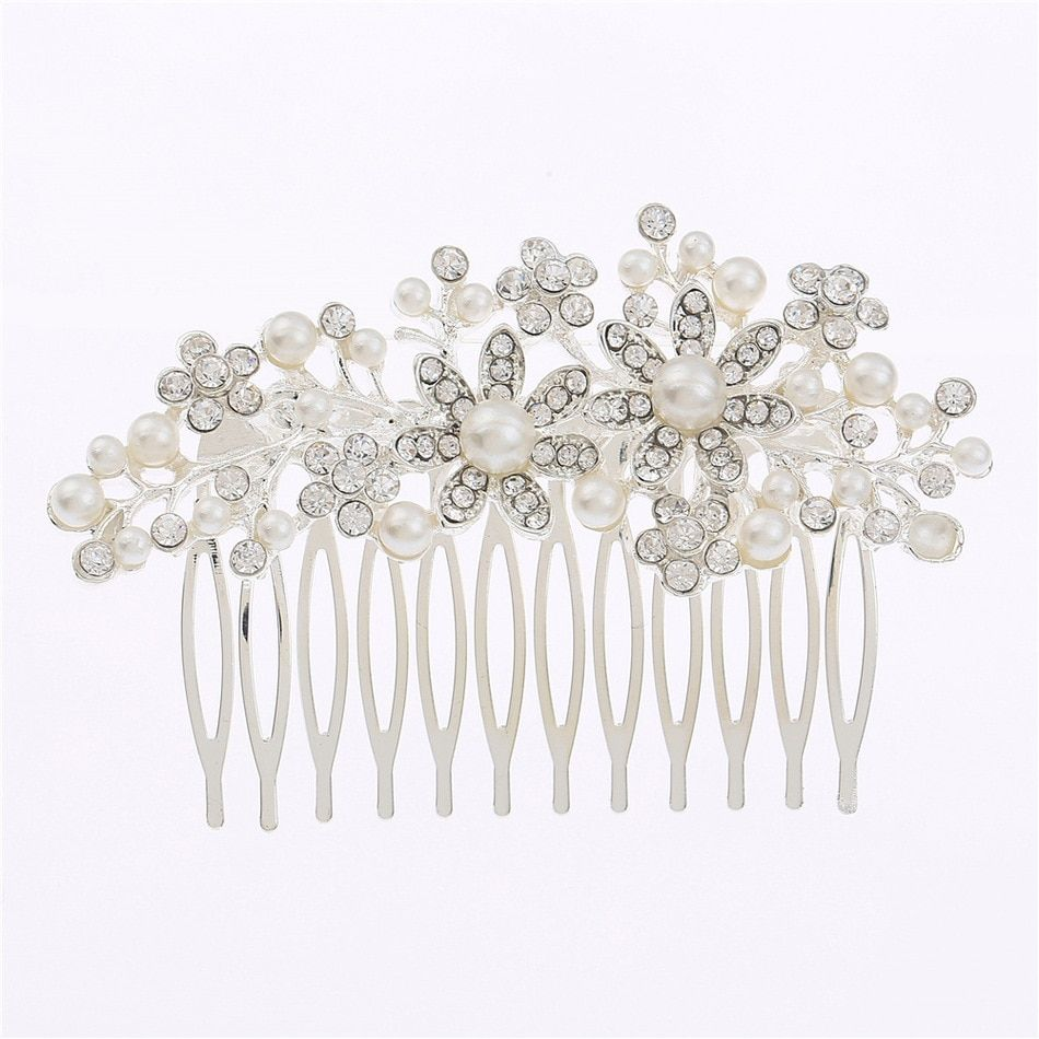 Fashion Insert Pearl Bride headband Hair jewelry Comb plate Headdress Alloy wedding Accessories hmong miao crystal tiara