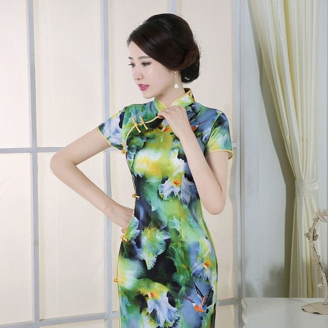 New Arrival Vintage Green Chinese Tradition Women's Silk Long Cheongsam Dress Charming Sexy Long Qipao Size S M L XL XXL  J30