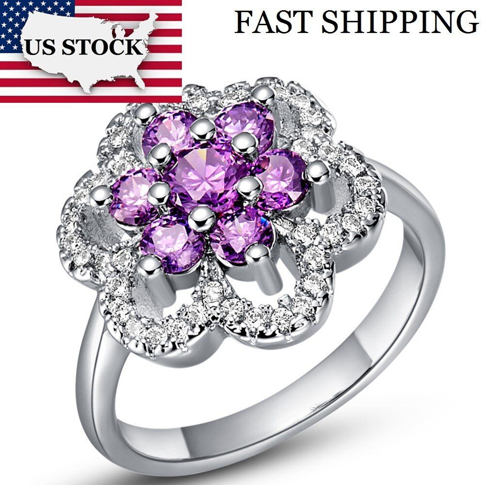 USA STOCK Uloveido Big Flower Ring Female Silver Color Crystal Wedding Rings Gifts for Women Cubic Zirconia Engagement T489