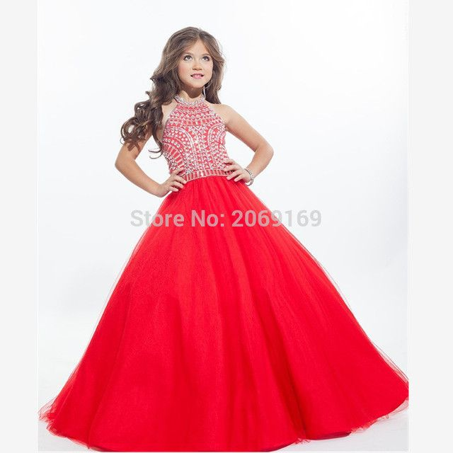 Cute White Halter Flowers Girls Pageant Dresses Gold Crystal Backless Tulle Off Shoulder Princess for Girls 2017 New