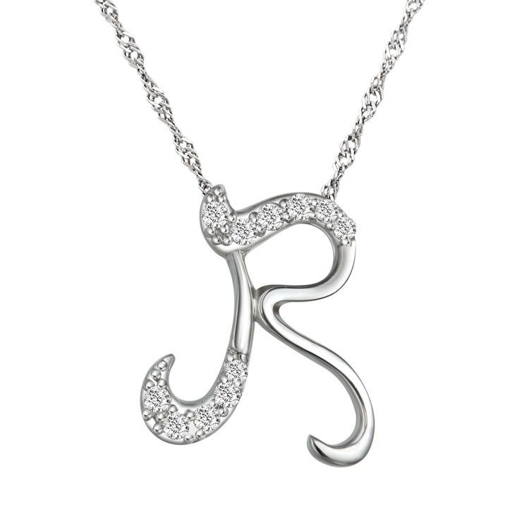 10pcs/lot Fashion Silver Letter Necklace 2016 Letter R Pendant Necklace Crystal Letter Initial Necklace for Women