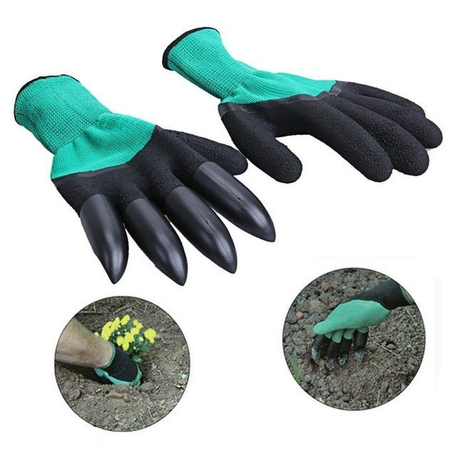 Garden gloves With Claws 4 ABS Plastic Garden Genie Rubber Gloves Quick Easy to Dig and Plant For Digging Planting