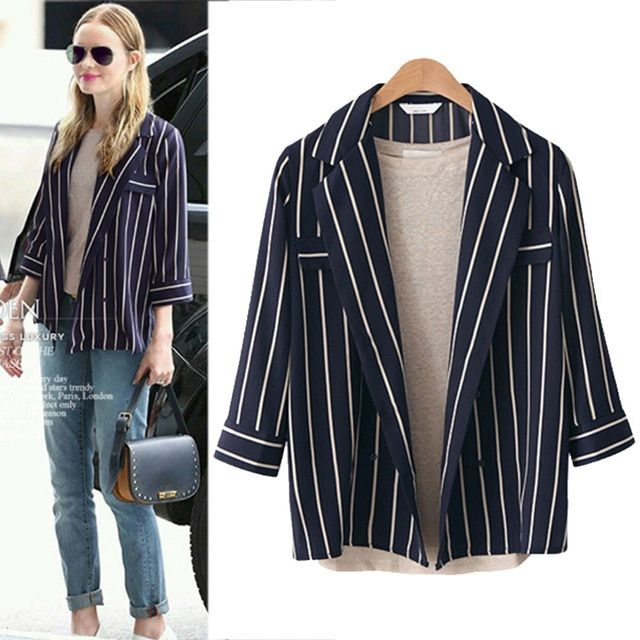 XXXL 4XL 5XL Plus Size Women Kimono Cardigan 2016 Autumn Fashion Notched Collar Three Quarter Sleeve Loose Casual Striped Shirts