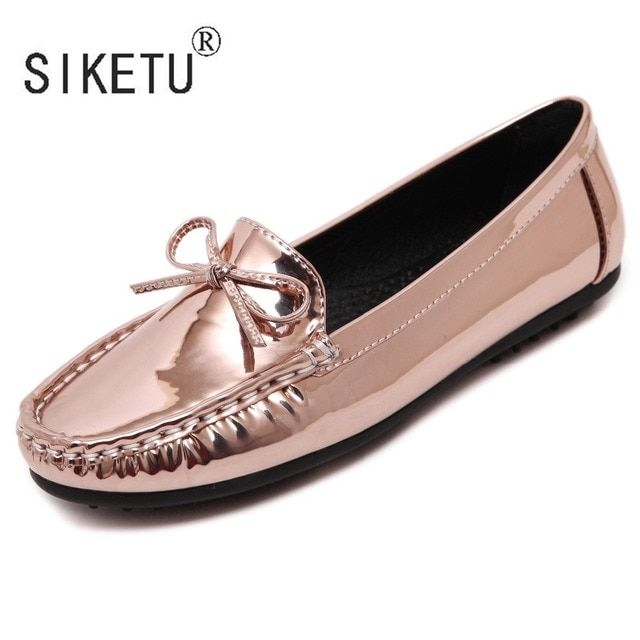 Newest PU Round Toe Bowtie Women Loafers Driving Casual Flats Peas Shoes SIKETU Brand