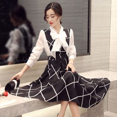2 piece set women clothing 2017 spring autumn korean long skirt suits two piece suits shirts and straps grid skirts female A1577