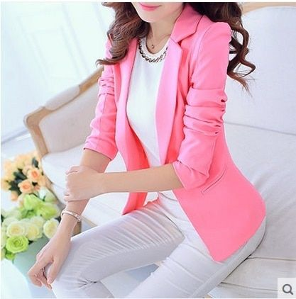 2016 Fashion women Red suit blazers long sleeve slim solid jackets ruffle ladies work Cape blazer design candy color Casual Coat
