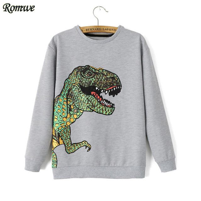 ROMWE Fashionable Feminina Pullovers Moleton Feminino Hoodies New Casual Long Sleeve Dinosaur Print Loose Grey Sweatshirt