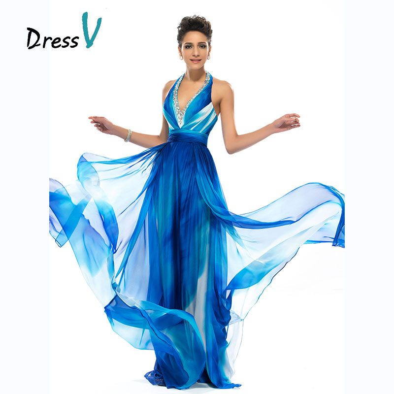 Dressv Long Charming Print Pattern Evening Dresses Halter Beaded Sexy Backless Prom Dresses A-line printed long evening dress