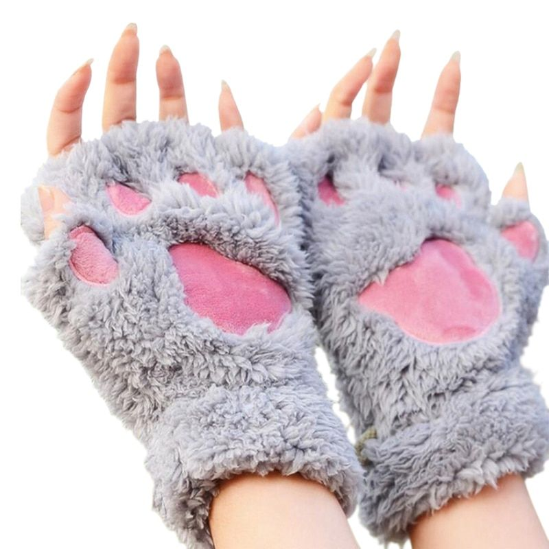 Mileegirl Ladies Winter Fingerless Gloves,Fluffy Bear Cat Plush Paw Claw Half Finger Glove,Half Cover Women Female Gloves Mitten