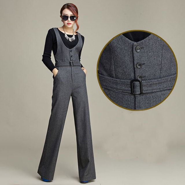 Fashion Winter Wool Women's Warm Jumpsuits Rompers Retro High Waist Slim Bib Overalls Ladies Wide Leg Pants Black Jumpsuit XXL