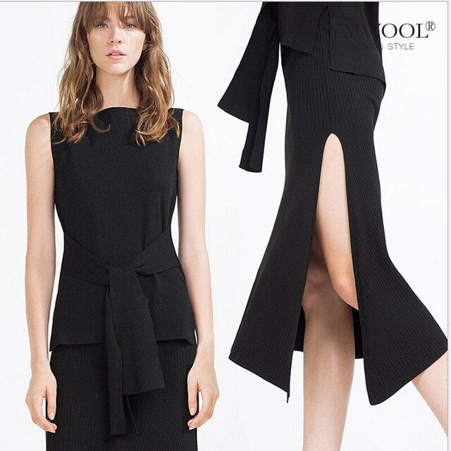 European Grand Prix 2017 spring and summer bust skirt suit sweater knotted piece wholesale women's waist before the split  Q018